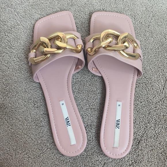 zara gold chain pink sandals
